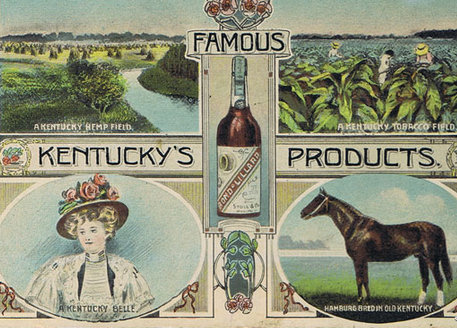 There might not be any barns on this old postcard, but three of the famous products are directly farm-related...