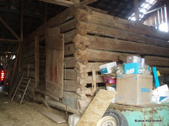 The log crib inside the later English barn.