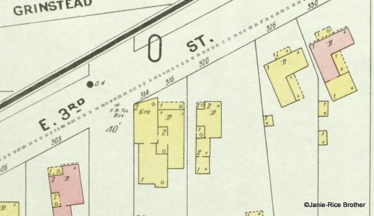 A section of the 1901 Sanborn map showing the building at 314 and 316.