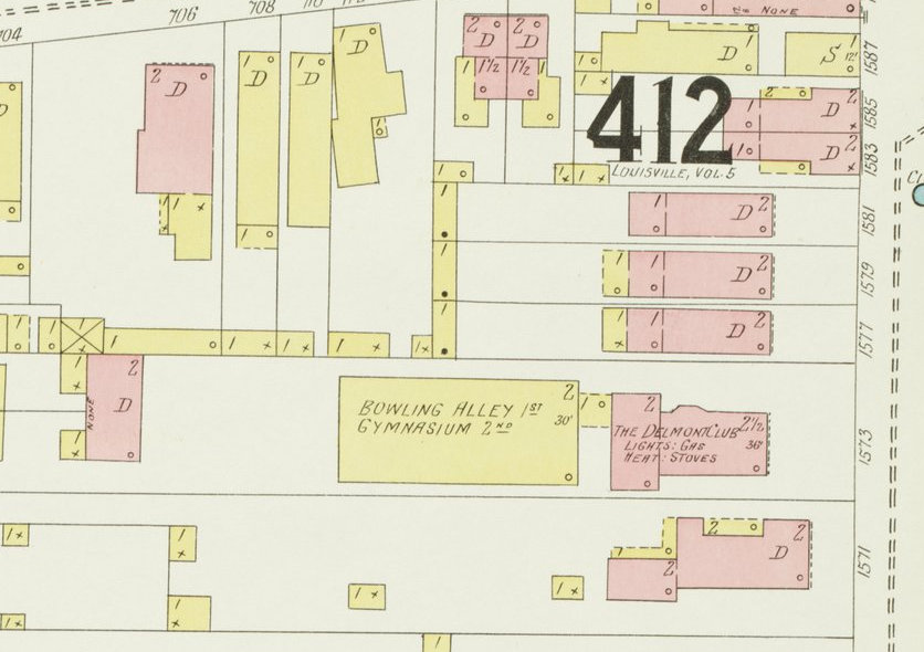 Section of the 1905 Sanborn Map of Louisville showing the Delmont Club at 1573 Story Avenue.