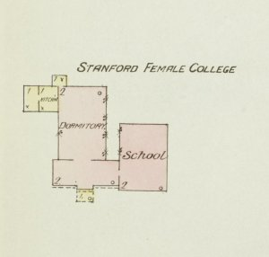 A section of the 1886 Sanborn map of Stanford, Kentucky, showing the College.