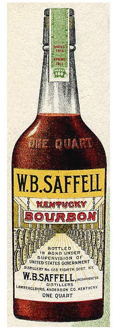 Made possible by the magic of the internet, this image of one of W.B. Saffell's bottles of bourbon.