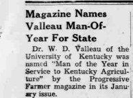Part of an article about Valleau in the January 15, 1948 edition of the Mountain Eagle.