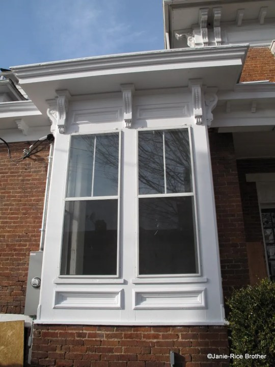 A square 19th-century bay window, Owingsville, Bath County, Kentucky.