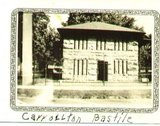 A historic photo of the Carrollton jail, from the Carroll County Civilian Conservation Corps website (http://www.kykinfolk.com/carroll/Album/CCC.htm)