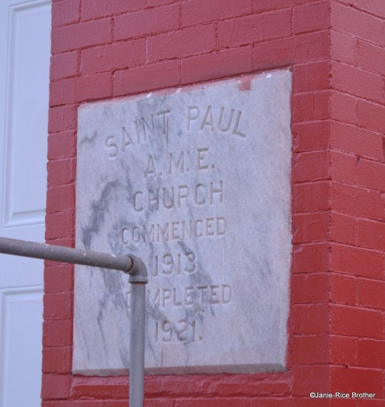 The datestone of St. Paul AME Church.