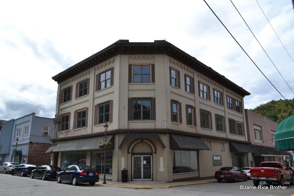 Corner commercial building in downtown Harlan, Kentucky.