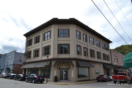 Corner commercial building in downtown Harlan, Kentucky.