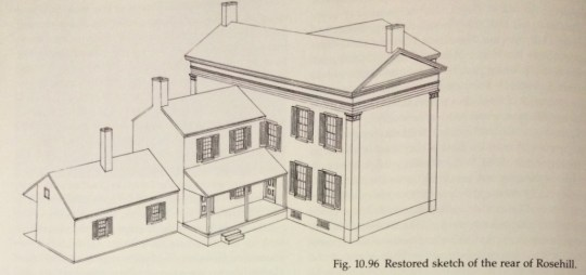 """This sketch by Clay Lancaster shows the narrow dimensions of the """"new"""" 1849 portion at far right, the original house with a one-story wing is behind it."""