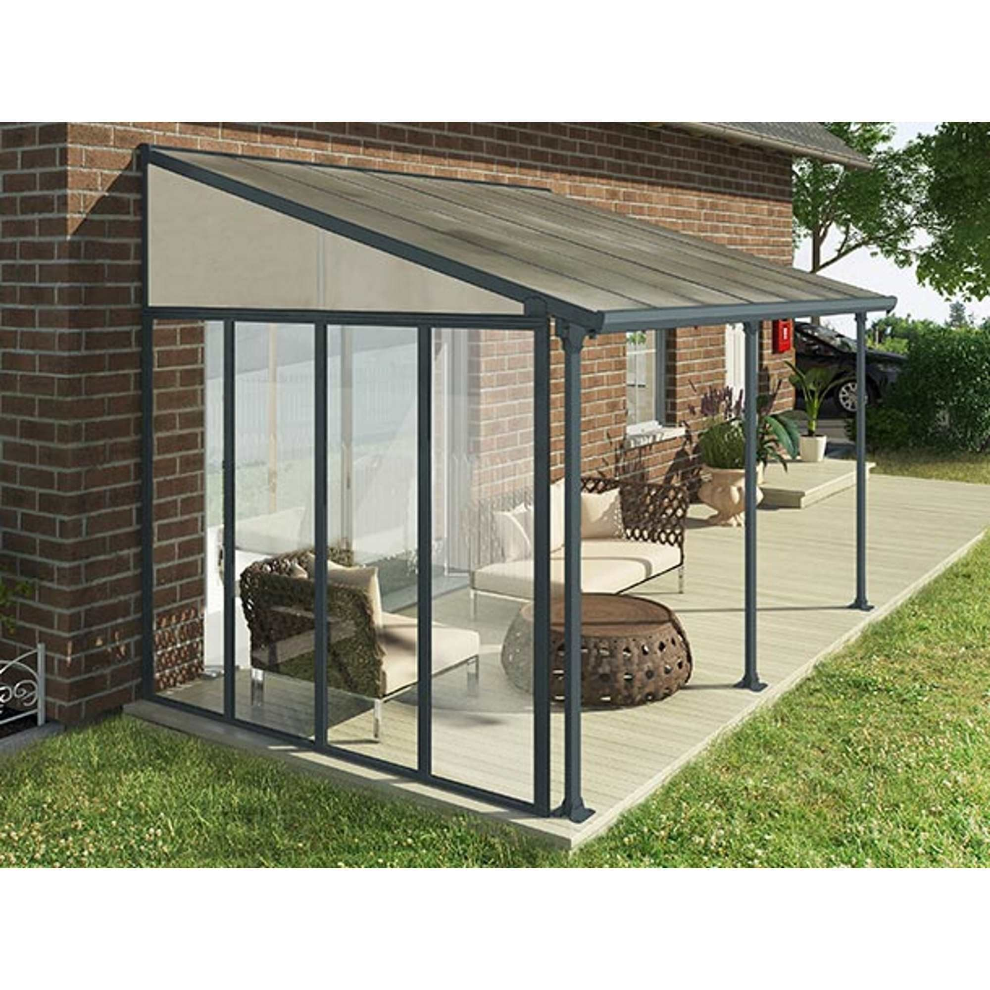 palram patio cover side wall 3m grey