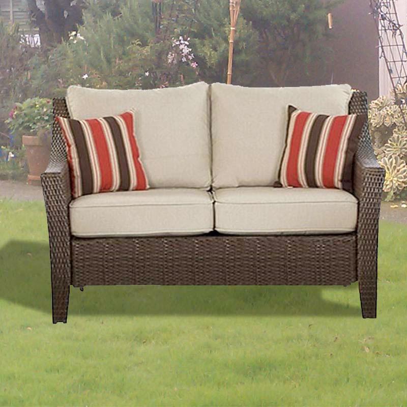 Rolston Wicker Love Seat Replacement Cushion Set Garden Winds