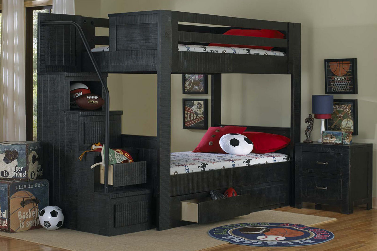 Black Full Over Full Bunk Bed With Staircase At Gardner White