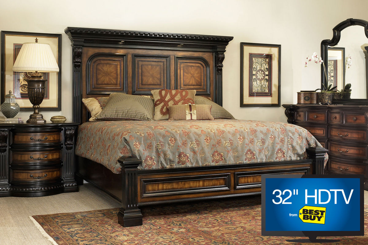"cabernet queen platform bedroom set with 32"" tv"