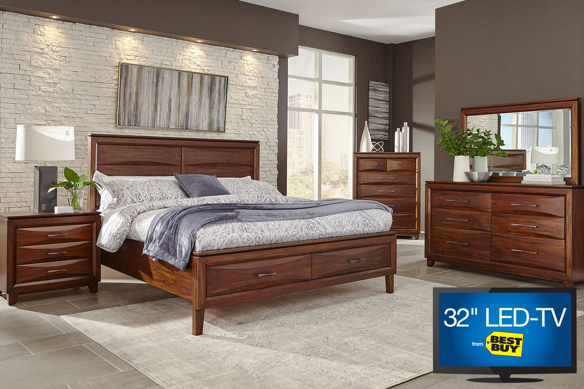"riveria king bedroom set with 32"" led-tv"