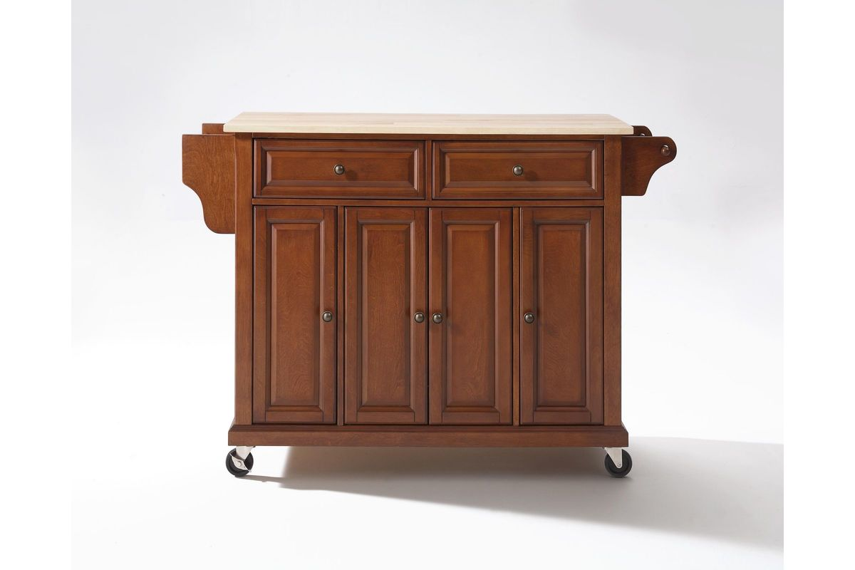 Natural Wood Top Kitchen Cart Island In Classic Cherry