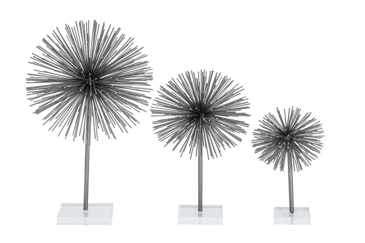 Industrial Arts Spherical Spiked Sculptures Set Of 3 In