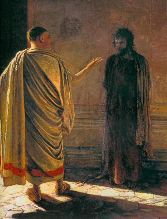 """Pilate asks Jesus """"What is truth?"""""""