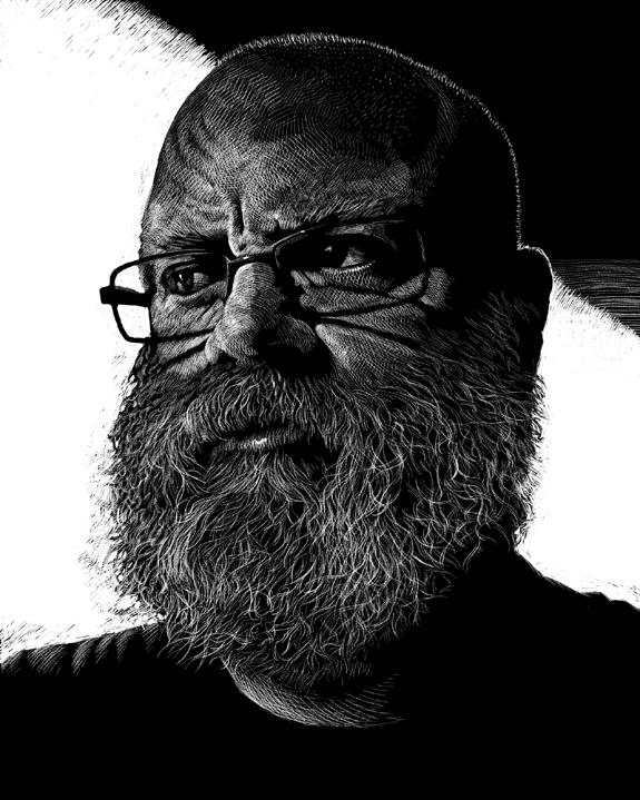 self portrait of kurt brugel scratchboard illustrator