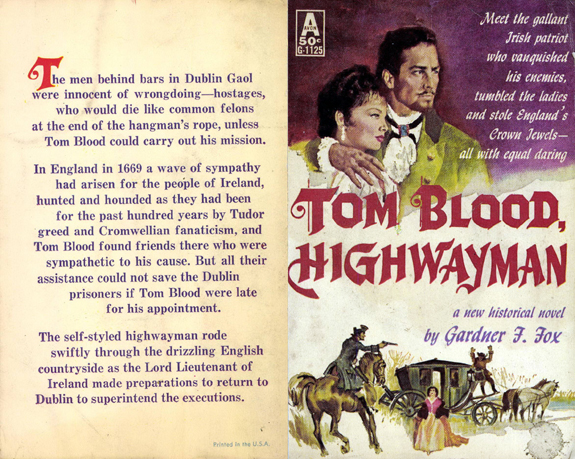 original Tom Blood Highwayman Gardner F Fox scratchboard cover art Kurt Brugel historical fiction England and Ireland