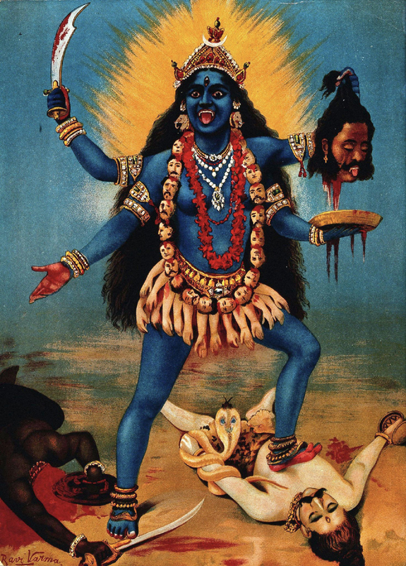 painting of Kali the deity goddess of life and death