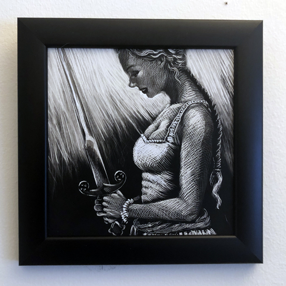 framed original for sale questing sword jefferson cooper gardner f fox scratchboard cover art kurt brugel historical fiction