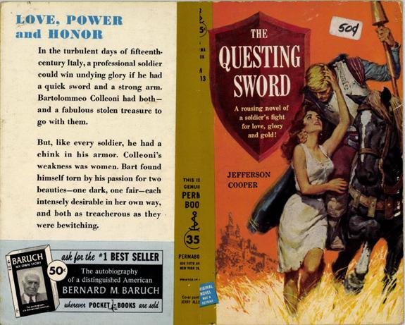 Jerry Allison The questing sword Italian renaissance historical fiction book cover art jefferson cooper gardner f fox