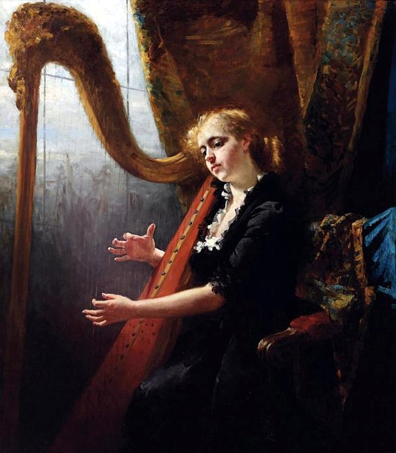 painting by Thérèse Schwartze (1851-1918) of a female harpist