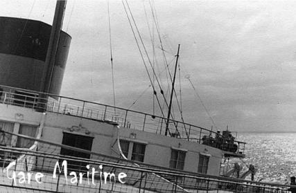 Normandie Southampton 1936. Showing her famous roll.