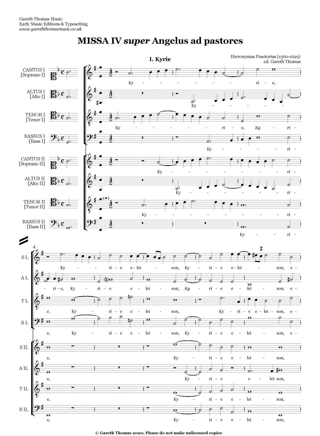 Hieronymous Praetorius Missa Angelus ad pastores SATB.SATB