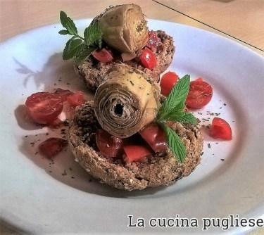 Friselle con pomodorini e carciofini - la cucina pugliese