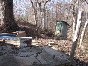 Roots House well and outhouse