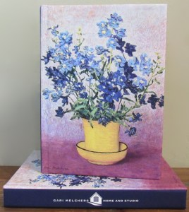 Blue Flowers in Yellow Pot