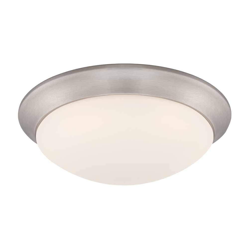 Commercial Electric 11″ Brushed Nickel LED Flushmount Frosted White Glass 2-Pack