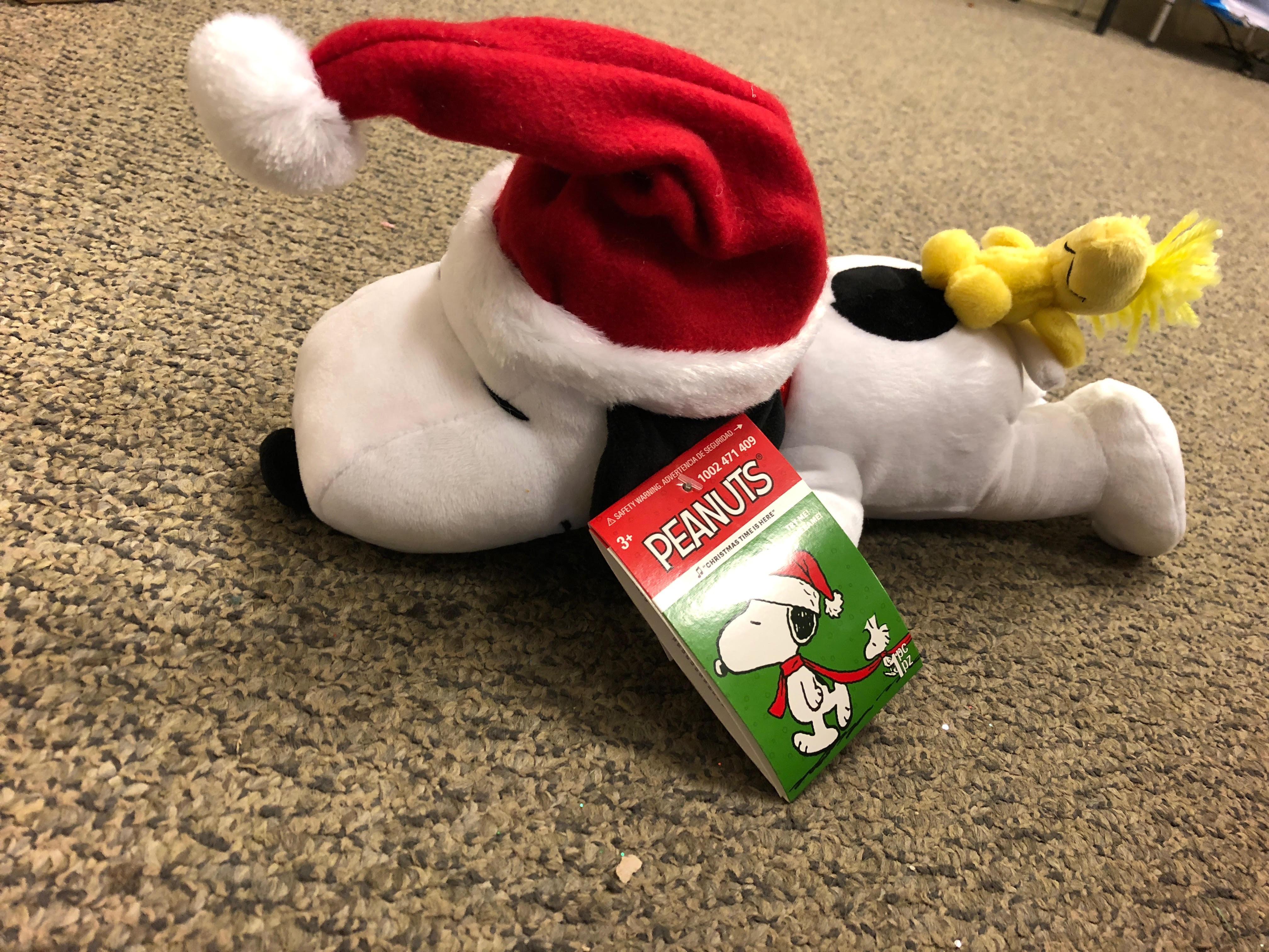 "Snoopy Woodstock Plush Christmas 14"" Music Animated Sleeping Breathing New"