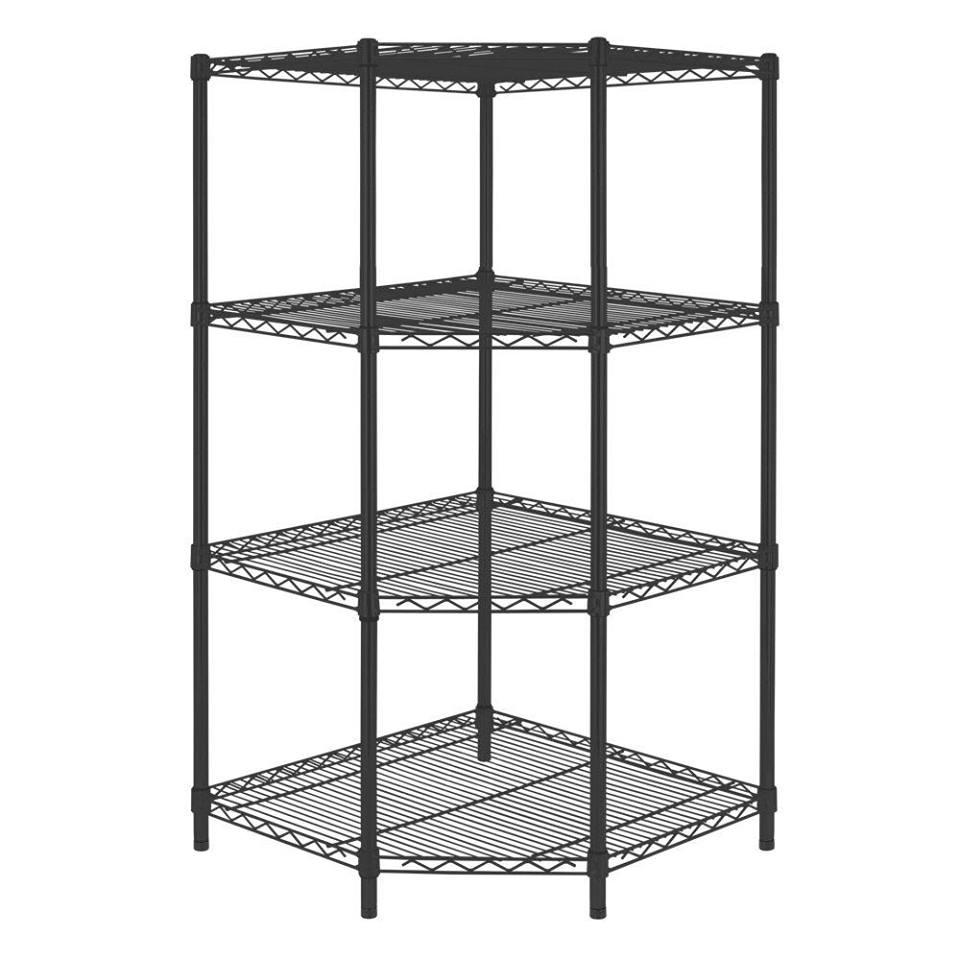 HDX 54 in. H x 27 in. W x 27 in. D 4 Shelf Steel Corner Shelving Unit in Black