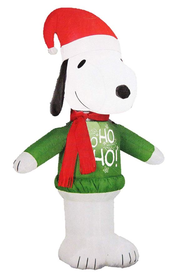 Peanuts 42 in. Inflatable Air blown Snoopy with Ho Ho Ho Sweater 15375