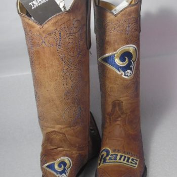 New NFL St. Louis Rams Women's Flyer Pull Up Western Boot Brown Size 6