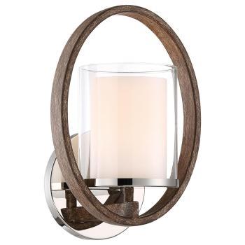 Good Lumens Madison Avenue 1-Light Polished Nickel & Corona Bronze Sconce 28001
