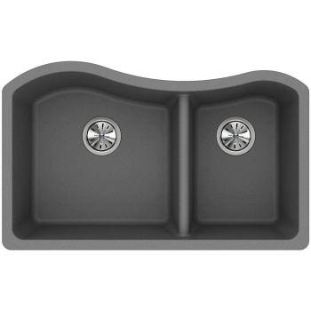 Elkay Quartz Classic 60/40 Double Bowl Undermount Sink Greystone ELGHU3220RGS0