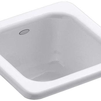 KOHLER Addison Drop-In Cast-Iron 13″ 1-Bowl Entertainment Sink in White K-6552-0