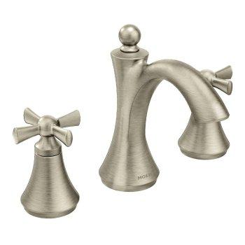 Moen Wynford Brushed Nickel 2-Handle Widespread Bathroom Sink Faucet LESS Valve