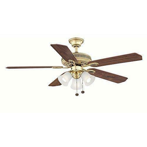 Glendale II 52″ Indoor Flemish Brass Ceiling Fan with Light Kit AG524-FB