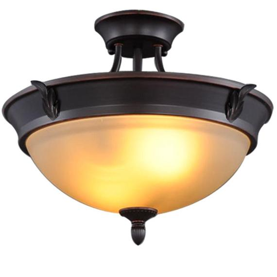 HB 15″ 2Light Oil-Rubbed Bronze Semi-Flush Mount Tea Stained Glass S351JU02