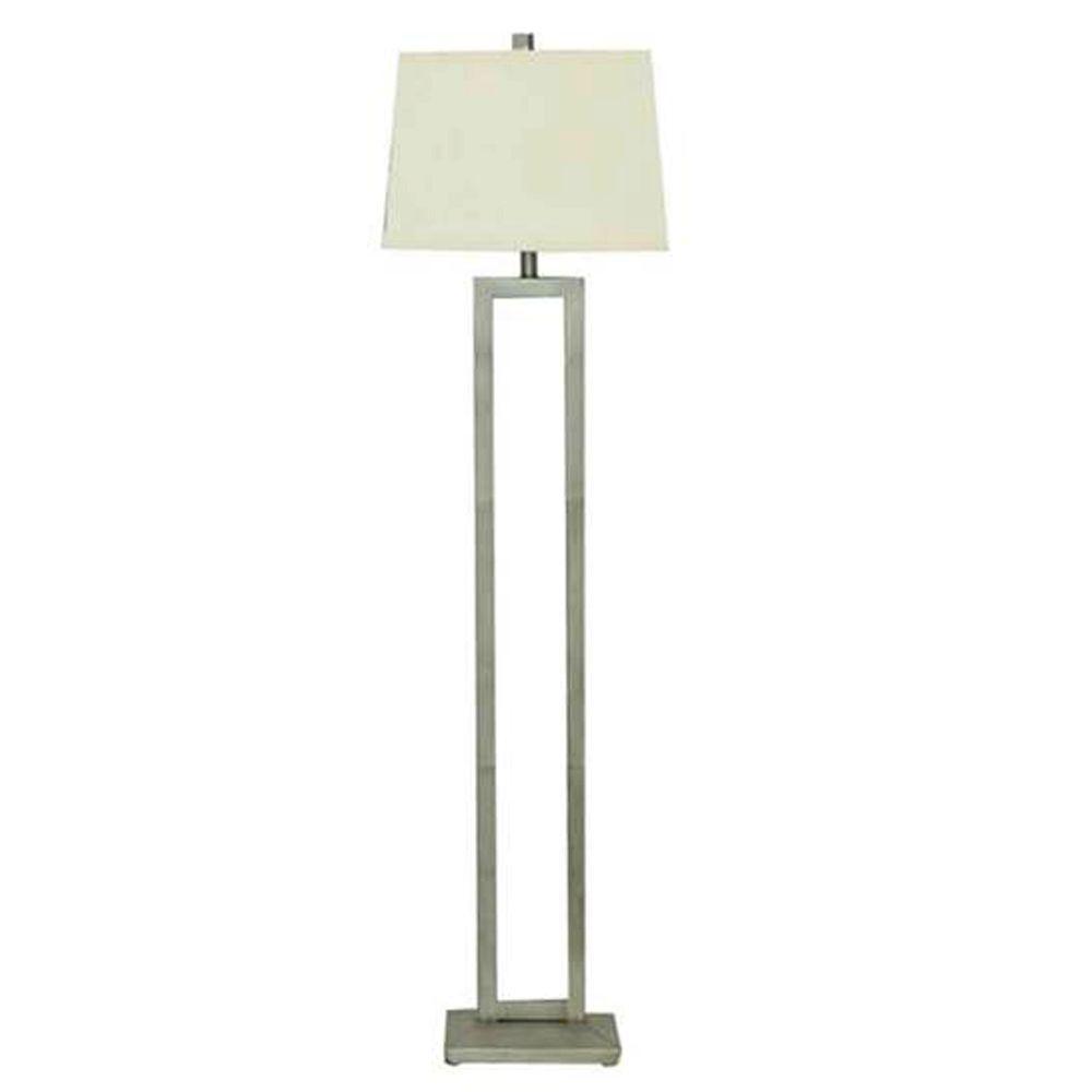 Hampton Bay 60.50″ Painted Silver Leaf Dual Pole Floor Lamp 19736-002