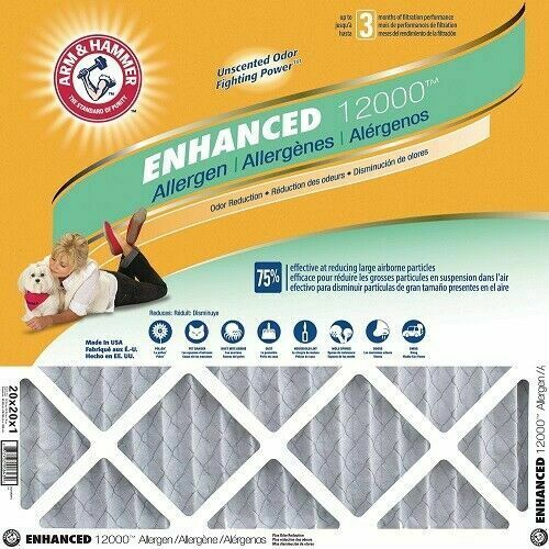 4-PACK Arm & Hammer Enhanced 12000 Allergen Air Filters 16″ X 16″ X 1″ AFAH2020