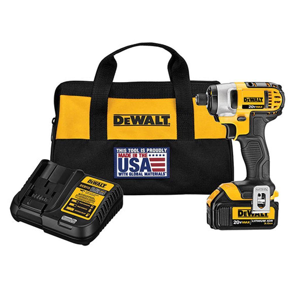 DEWALT 20Volt MAX 1/4″ Impact Driver Battery 3AH Charger Tool Bag DCF885L1