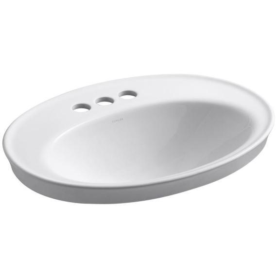 KOHLER Serif DropIn Vitreous China Bathroom Sink White Overflow Drain K-2075-4-0