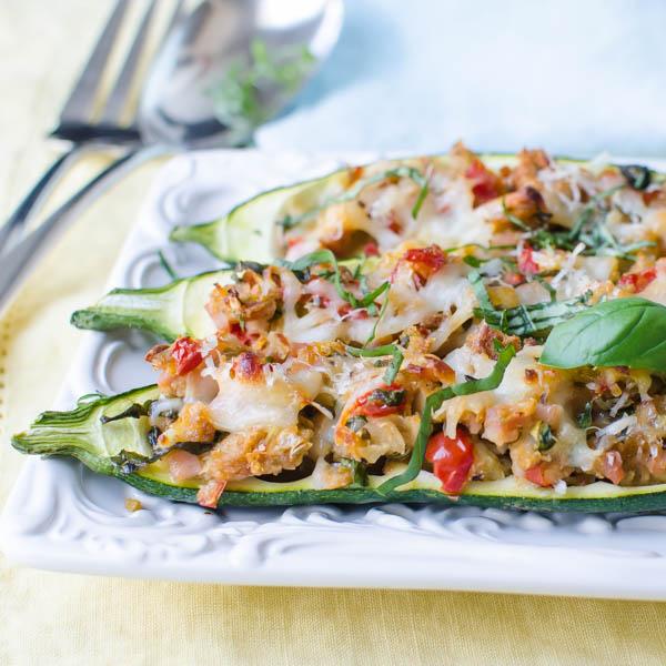 Stuffed Italian Zucchini Boats | Garlic + Zest