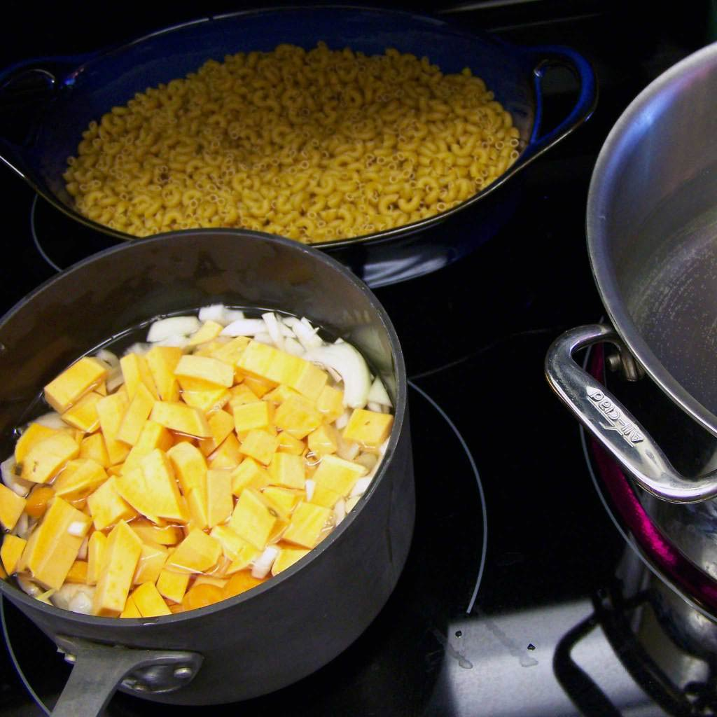 Vegan Mac and cheese -Vegetables and Pasta water boiling on the stove