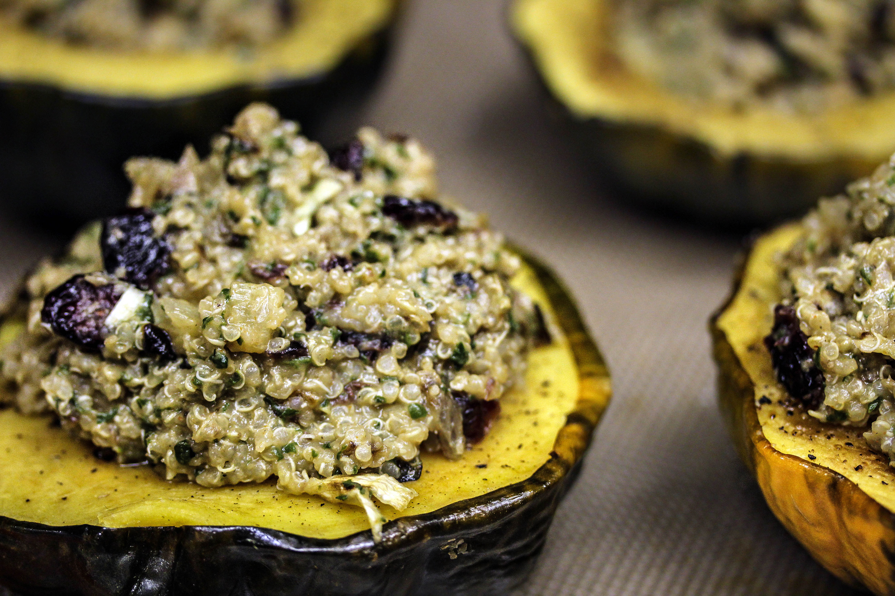 Roasted Acorn Squash with added Cranberry Walnut and Quinoa filling